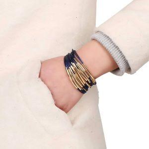 Jewelry - Blue & Gold Multi Row Magnetic Bangle Bracelet